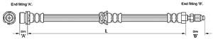 Bromsslang, framaxel höger, framaxel vänster, Höger fram, Vänster fram