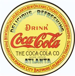 Blikkskilt/CocaCola-gul-rund, Universal