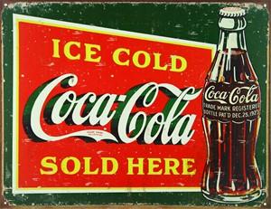 Blikkskilt/CocaCola ice cold,gr, Universal