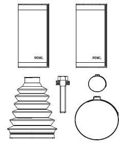 Paljekumisarja, vetoakseli, Etuakseli, Pyörän puoli, Etuakseli, oikea, Etuakseli, vasen