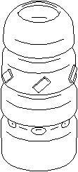 Reservdel:Citroen C2 Genomslagsgummi, stötdämpare, Fram, höger eller vänster