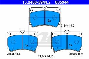Reservdel:Mazda 121 Bromsbeläggsats, Bak, Fram