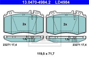 Reservdel:Mercedes S 280 Bromsbeläggsats, Fram