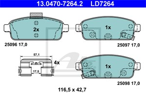 Reservdel: Chevrolet Bromsbeläggsats, Bak