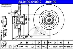 Reservdel:Citroen C3 Bromsskiva, Bakaxel
