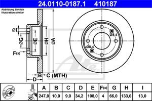 Reservdel:Citroen C1 Bromsskiva, Bak, Bakaxel, Fram, Framaxel
