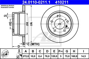 Reservdel:Bmw 316 Bromsskiva, Bak, Bakaxel