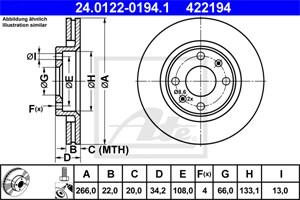 Reservdel:Citroen C3 Bromsskiva, Fram, Framaxel