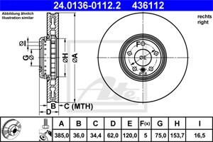 Reservdel:Bmw X5 Bromsskiva, Framaxel, Höger fram