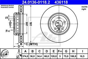 Reservdel:Bmw 650 Bromsskiva, Höger fram