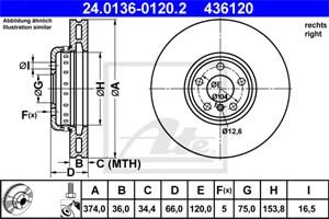 Reservdel:Bmw 750 Bromsskiva, Höger fram