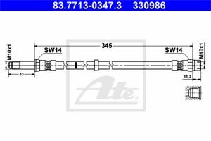 Reservdel:Volvo Xc70 Bromsslang, Fram
