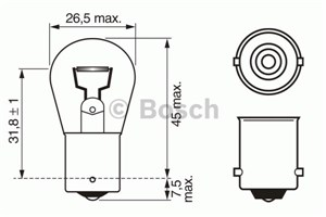 Bulb, rear fog light, Front, Rear