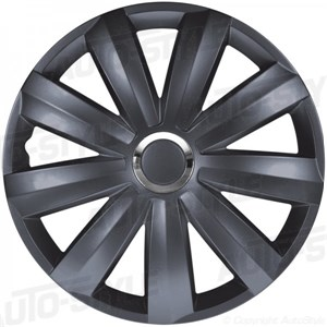 Hjulsidor/ Navkapslar, Venture Pro Gray +chrome ring Nylon, Wheel cover set 13-tommer.